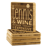 Tennis and Wine Bamboo Coasters