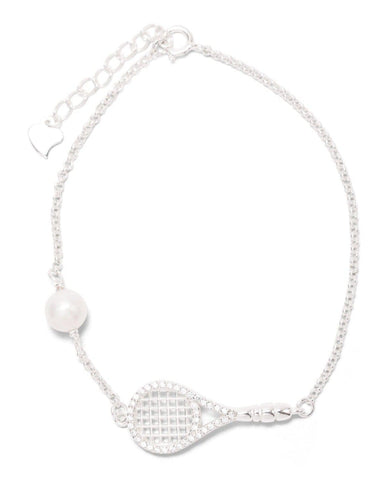 Luxe Tennis Racket and Pearl Bracelet