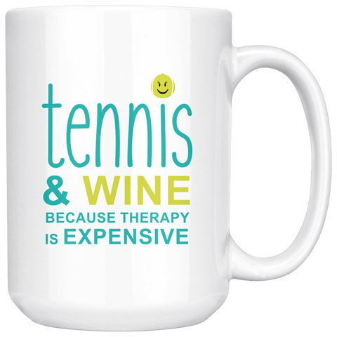 TENNIS AND WINE COFFEE MUG