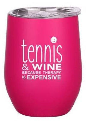Tennis and Wine Tumbler (Pink)