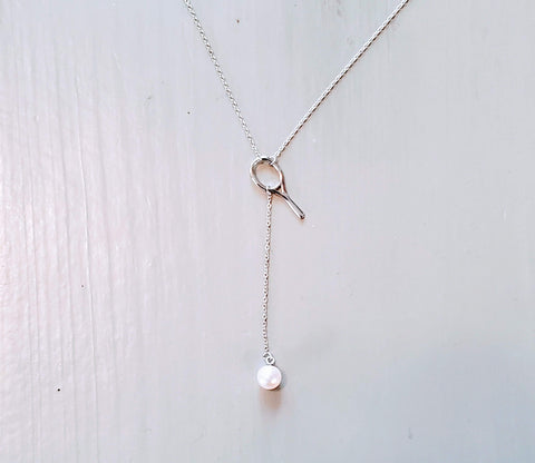 Racket with Pearl Ball Tennis Necklace