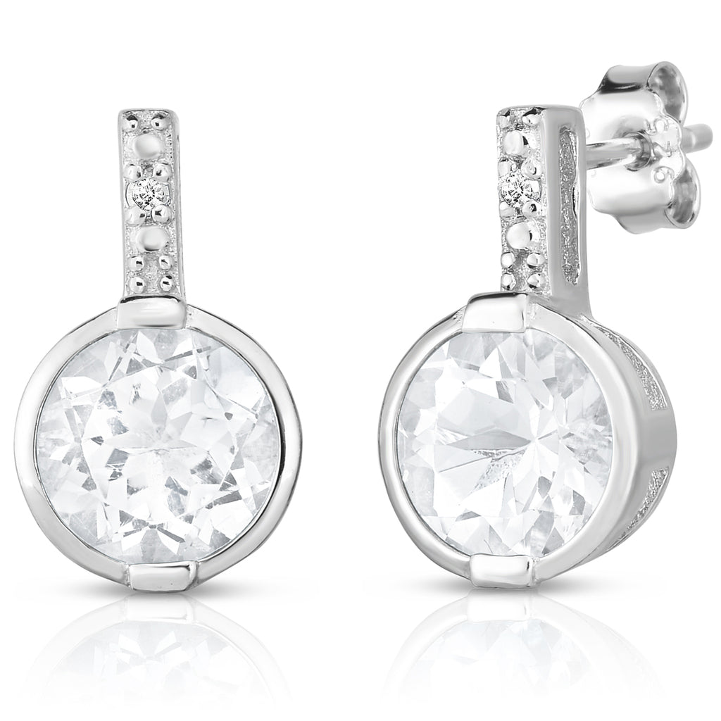 com stud bezel sterling round earrings cz dp cut amazon diamond silver set basket