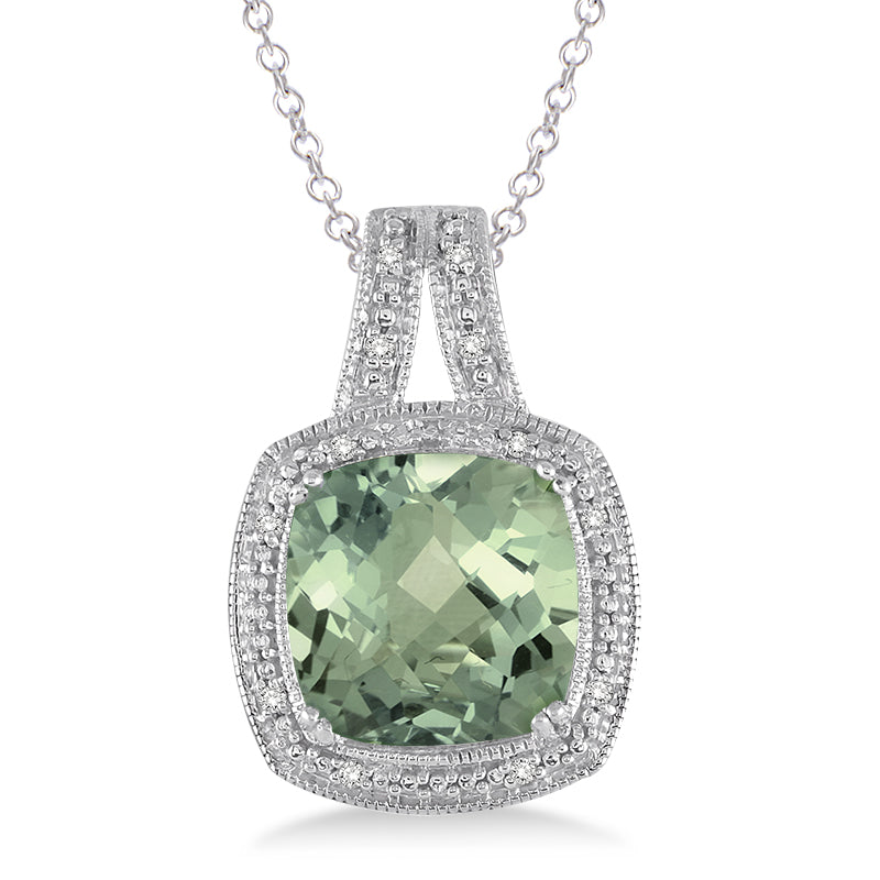 Diamond green amethyst necklace forever today by jilco diamond green amethyst necklace aloadofball Images
