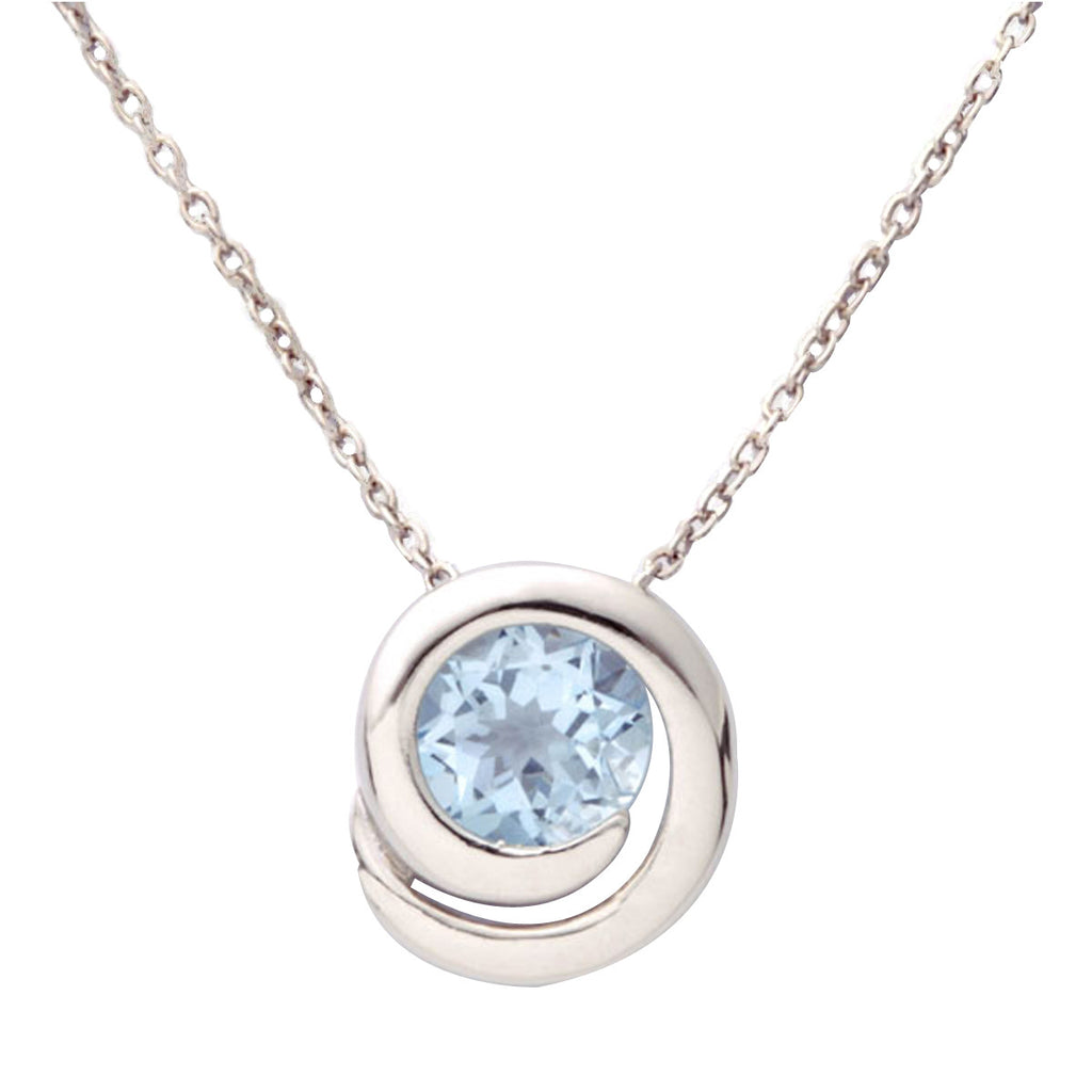 topaz pendant necklace with white in blue gold