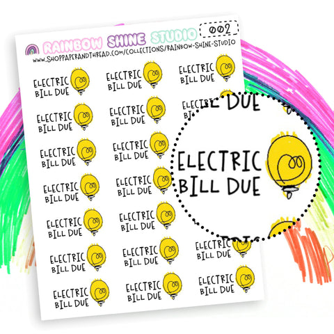 Electric Bill Due Planner Stickers - Doodle Planner Stickers - Light Bulb Planner Stickers - Rainbow Shine Studio - 002