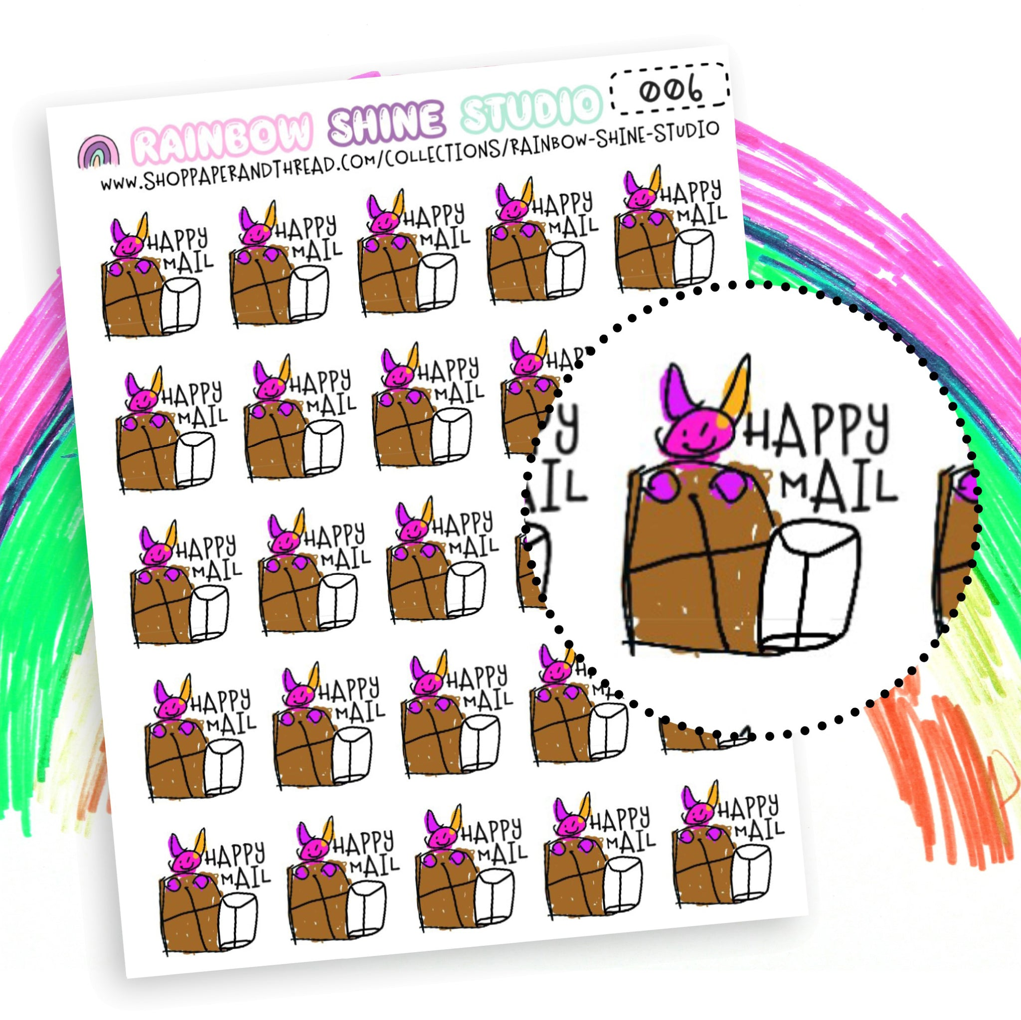 Happy Mail Planner Stickers - Bat Planner Stickers - Doodle Planner Stickers - Rainbow Shine Studio - 006