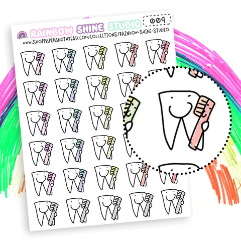 Tooth And Toothbrush Planner Stickers - Dentist Appointment Planner Stickers - Doodle Planner Stickers - Rainbow Shine Studio - 009