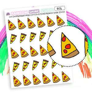 Pizza Planner Stickers - Dinner Planner Stickers - Doodle Planner Stickers - Rainbow Shine Studio - 016
