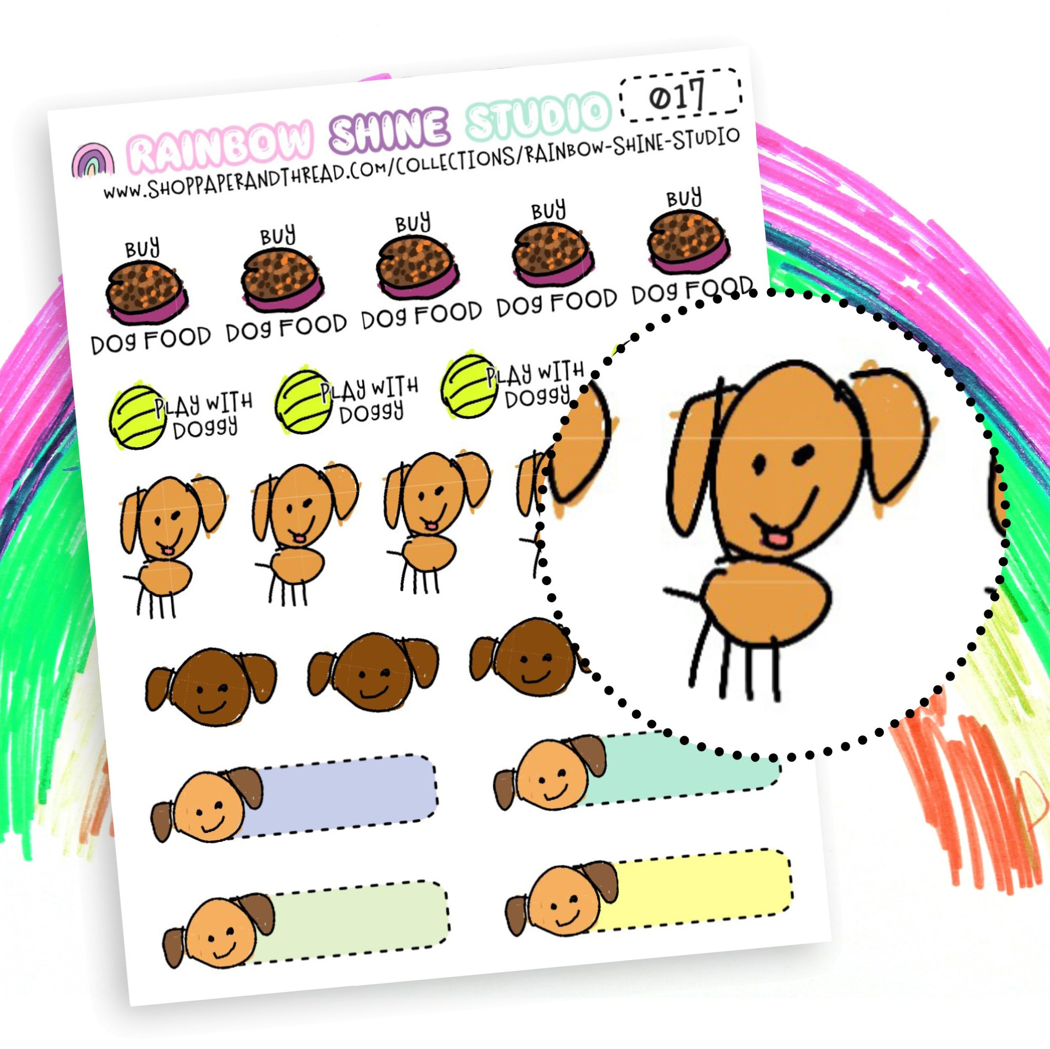 Dog Care Planner Stickers - Pet Care Planner Stickers - Puppy Planner Stickers - Doodle Planner Stickers - Rainbow Shine Studio - 017