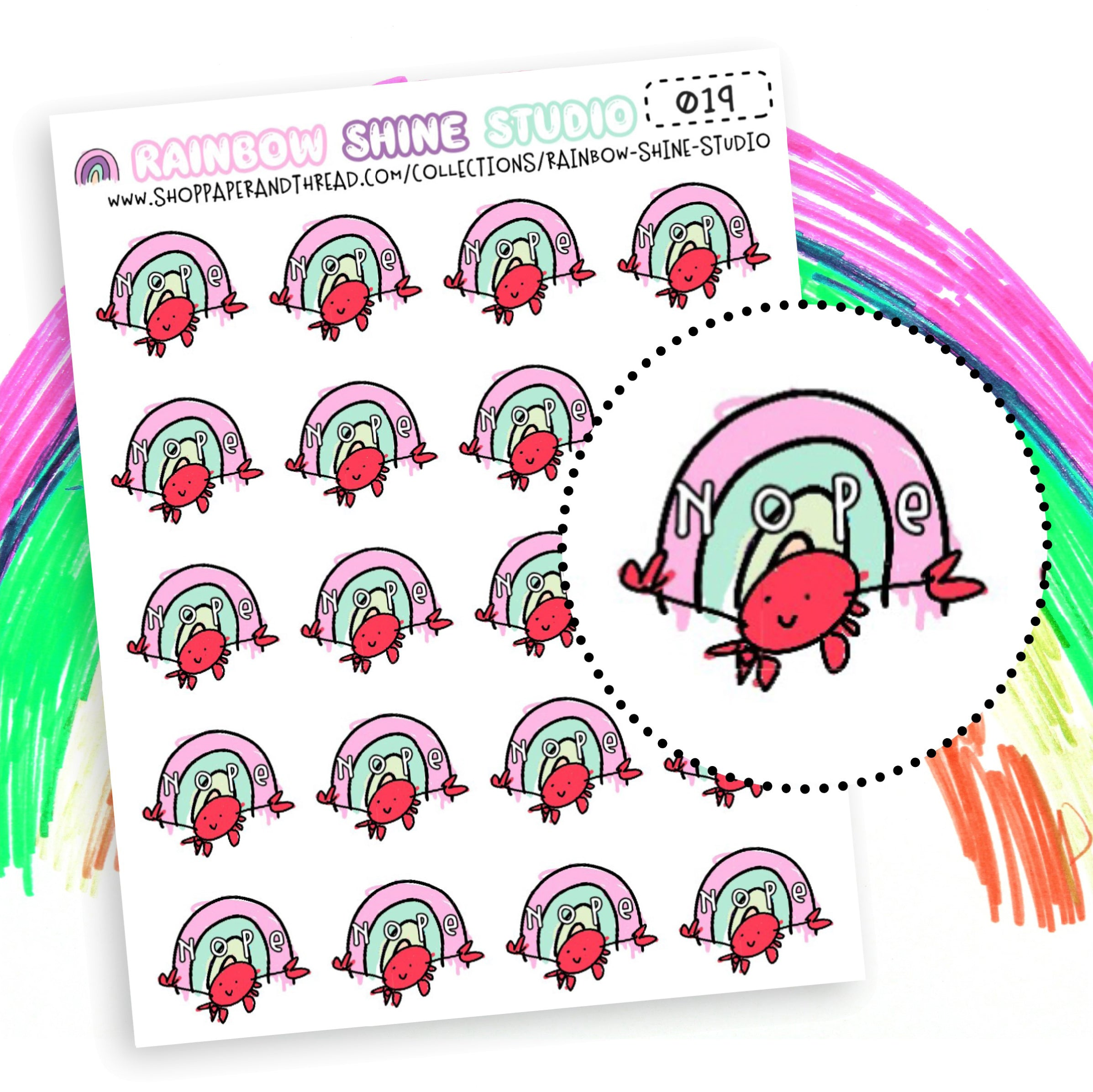 Nope Planner Stickers - Crab Planner Stickers - Rainbow Planner Stickers - Doodle Planner Stickers - Rainbow Shine Studio - 019