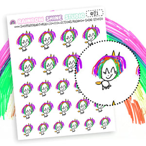 Unicorn Planner Stickers - Sparkles The Unicorn Planner Stickers - Rainbow Planner Stickers - Doodle Planner Stickers - Rainbow Shine