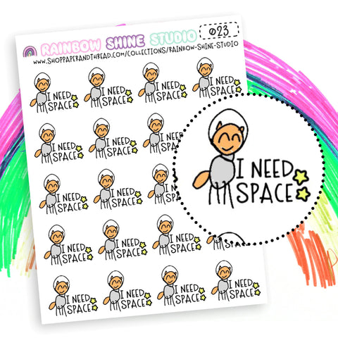I Need Space Planner Stickers - Galaxy Planner Stickers - Fox Planner Stickers - Rainbow Planner Stickers - Doodle Planner Stickers -