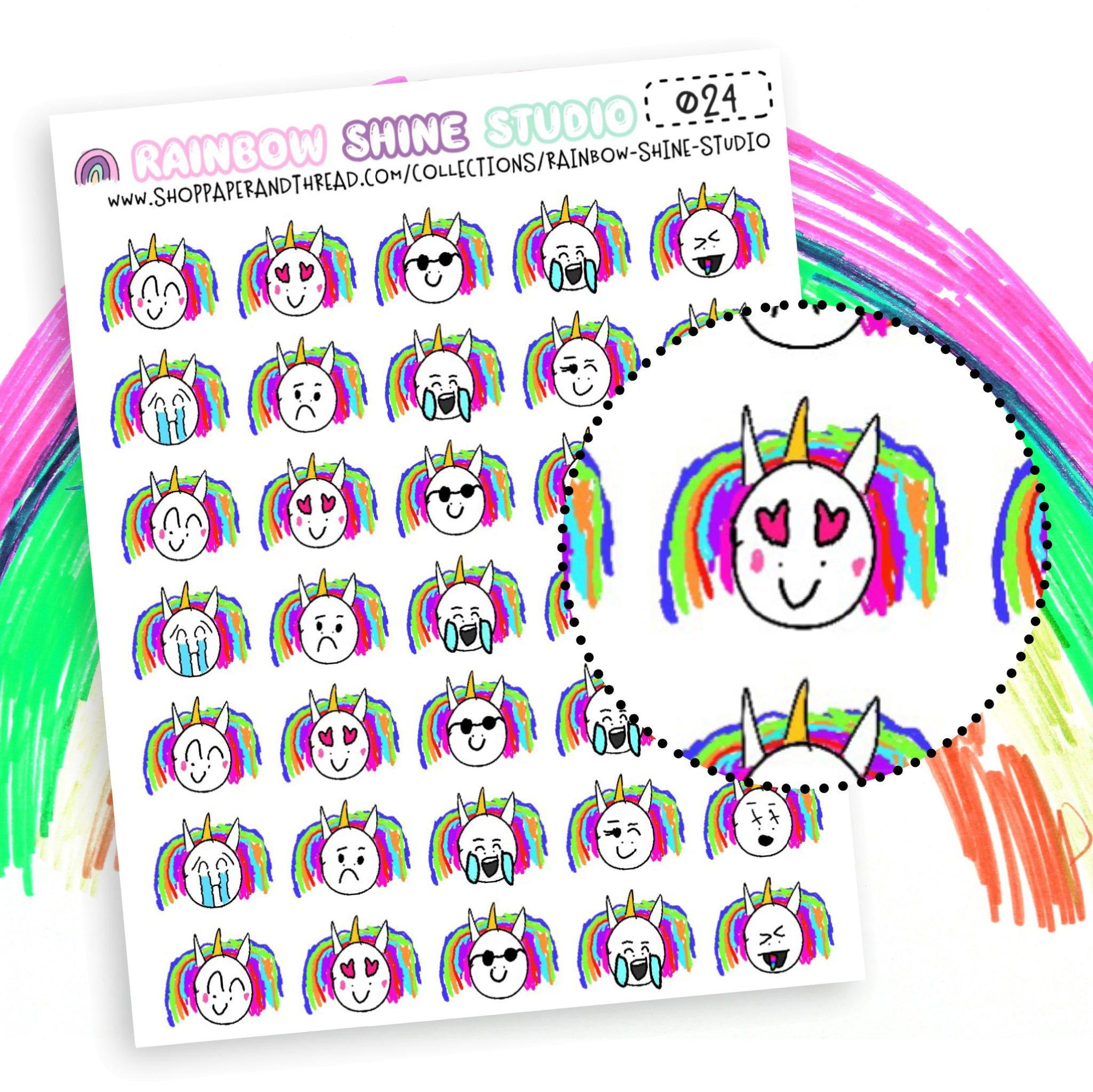 Emoji Planner Stickers - Unicorn Planner Stickers - Sparkles The Unicorn Planner Stickers - Rainbow Planner Stickers - Doodle Planner