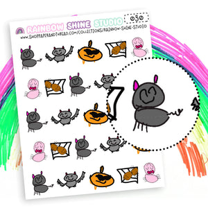 Halloween Planner Stickers - Black Cat Planner Stickers - Bat Planner Stickers - Rainbow Shine Studio - 030