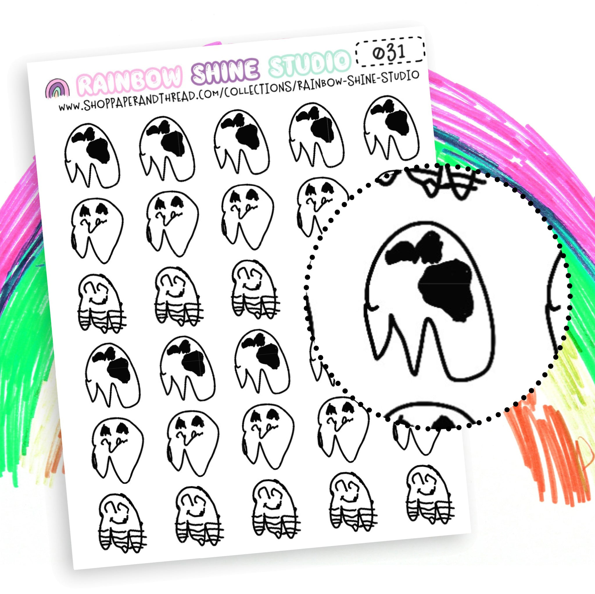 Ghost Planner Stickers - Spooky Cute Planner Stickers - Nuetral Planner Stickers - Rainbow Shine Studio - 031