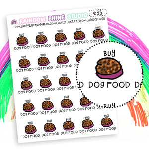 Buy Dog Food Planner Stickers - Pet Care Planner Stickers - Pet Food Planner Stickers - Rainbow Shine Studio - 033
