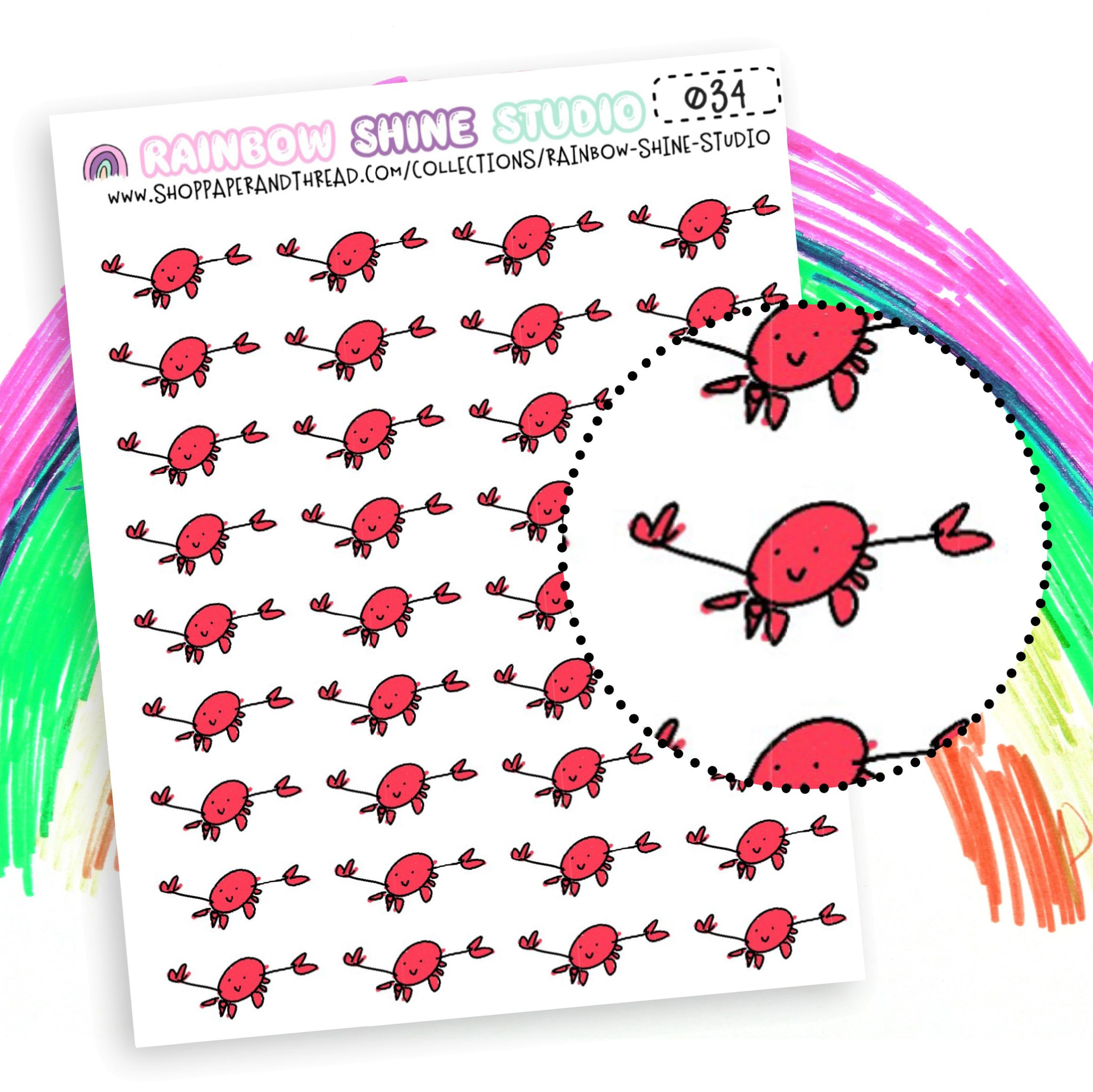Crab Planner Stickers - Period Planner Stickers - Bad Day Planner Stickers - Rainbow Shine Studio - 034