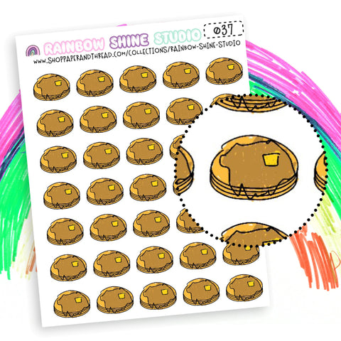Pancake Planner Stickers - Breakfast Planner Stickers - Food Planner Stickers - Rainbow Shine Studio - 037