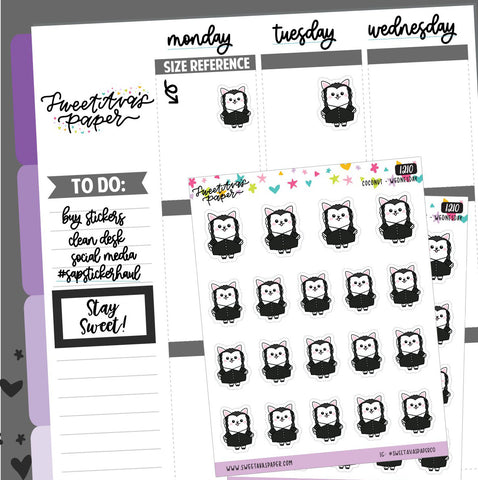 Bow Planner Stickers - Peeking Planner Stickers - Cat Planner Stickers - Character Sticker - Doodle Planner Stickers - Hand Drawn - 1210