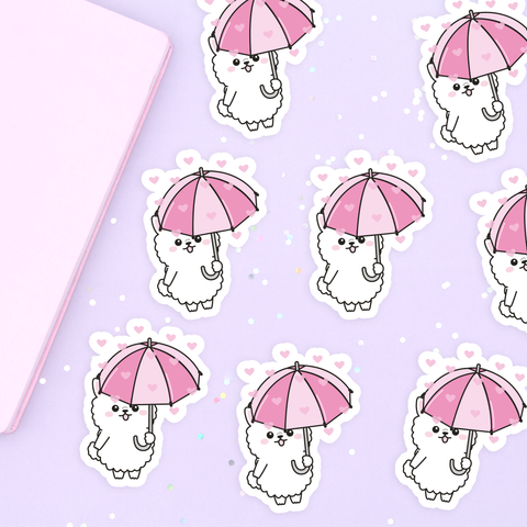 Raining Hearts Vinyl Die Cut Sticker - Coconut Vinyl Sticker