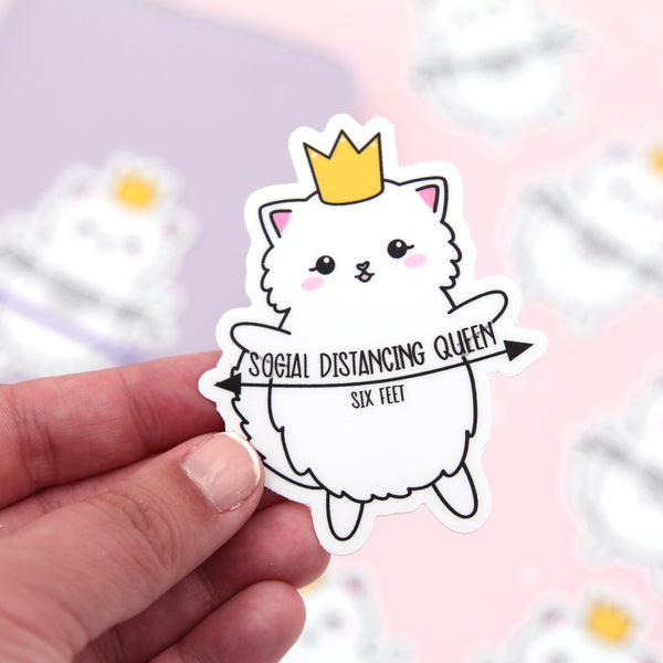 Social Distancing Queen Cat Vinyl Die Cut Sticker