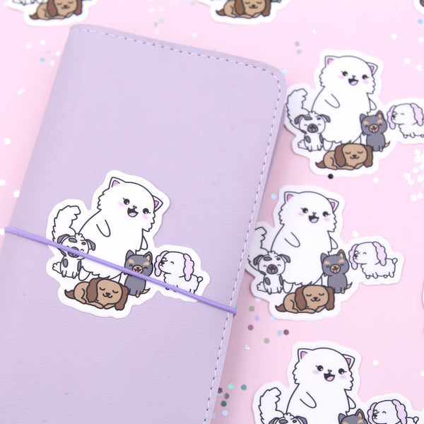 Puppies with Snowball Vinyl Die Cut Sticker
