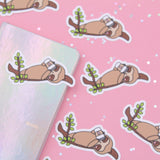 Sloth with Coffee Vinyl Die Cut Sticker