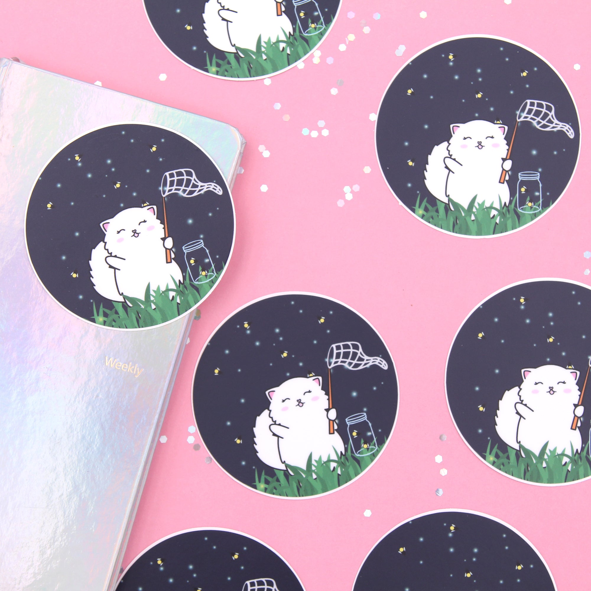 Snowball Chasing Fireflies Vinyl Die Cut Sticker