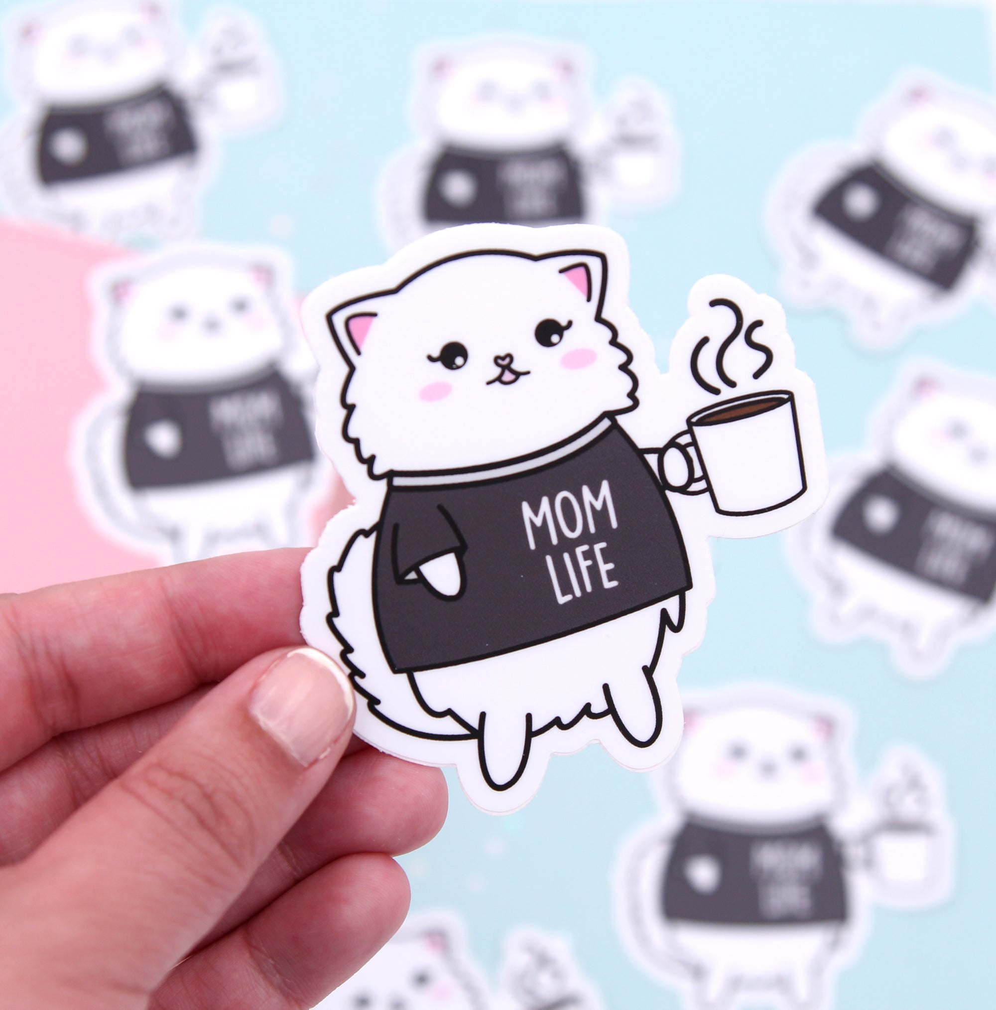 Snowball Mom Life - Cat Vinyl Die Cut Sticker