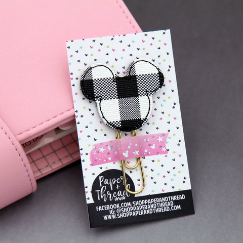 Plaid Mickey Head Planner Clip - Halloween Bookmark - Fall Clip