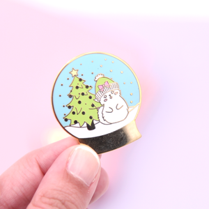 Snow Globe Enamel Pin - Cat Enamel Pin - Cat Collector's Pin - Hard Enamel Pin - Christmas Enamel Pin - Winter Enamel Pin - White Cat Pin