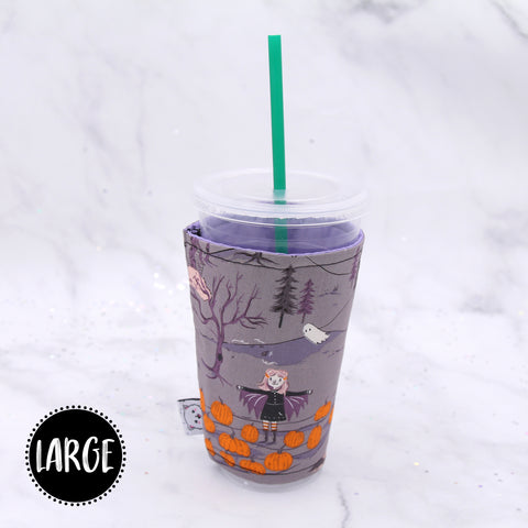 LARGE - Trick or Treat At Night Insulated Coffee Sleeve