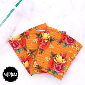 MEDIUM - Fall Flowers Insulated Coffee Sleeve