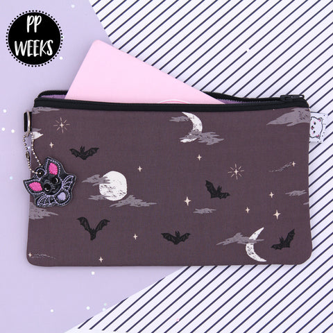 Bats At Night - Hobonichi Zipper Pouch - Print Pression Weeks - Planner Pouch - Pencil Pouch - Pen Pouch - No Coupons Please