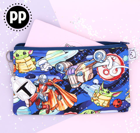 Mando & Baby Space Alien - Hobonichi Zipper Pouch - Print Pression Weeks - Planner Pouch - Pencil Pouch - Pen Pouch - No Coupons Please