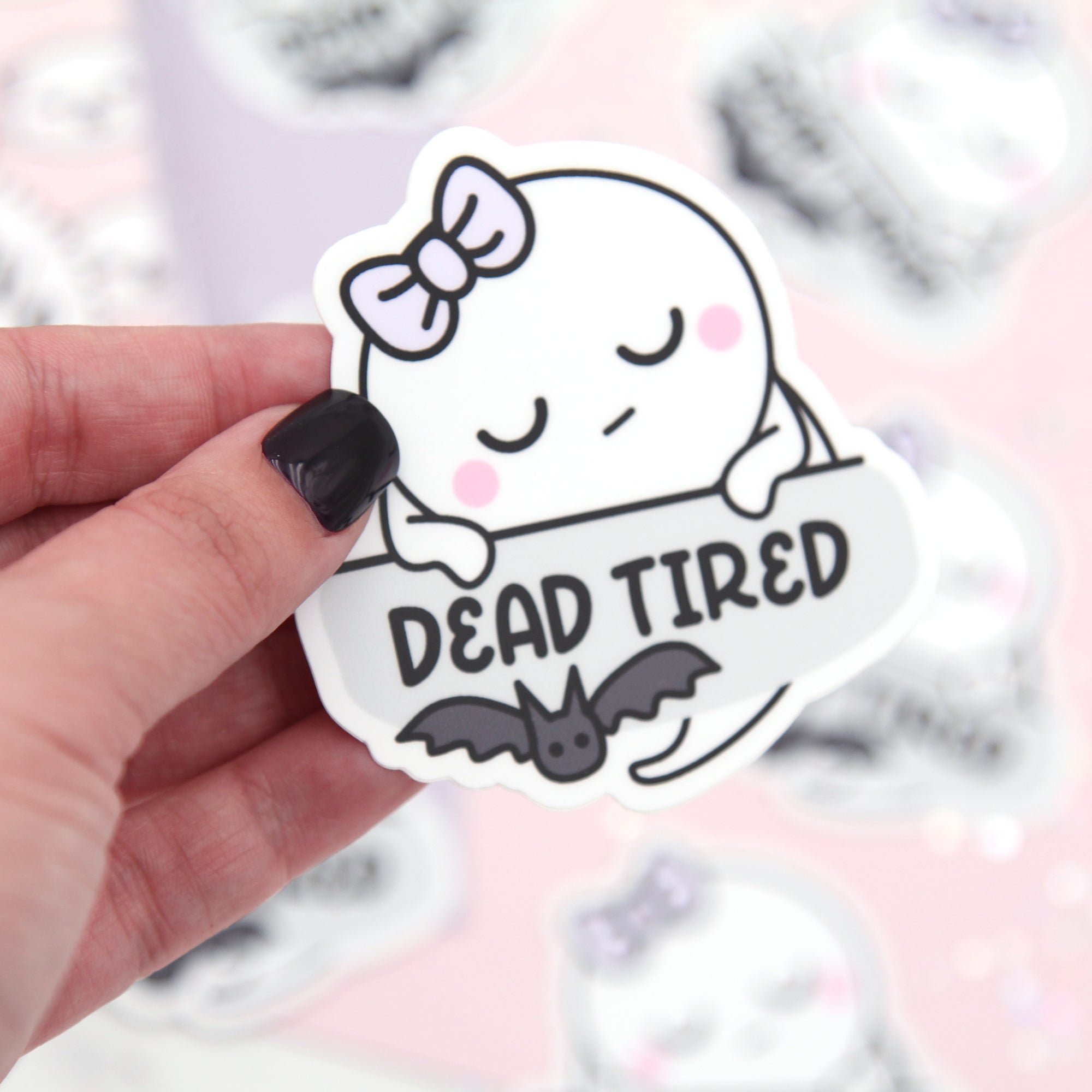 Boo - Dead Tired - Bat Vinyl Die Cut Sticker - Ghost Vinyl Sticker - Tumbler Decal