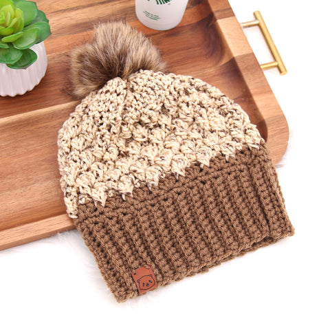 Coffee Bean - Crochet Pom Pom Beanie