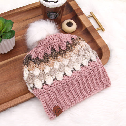 Pink & Brown - Crochet Pom Pom Beanie