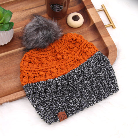 Pumpkin Patch - Crochet Pom Pom Beanie