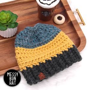 Honey Bear - Crochet Messy Bun Hat