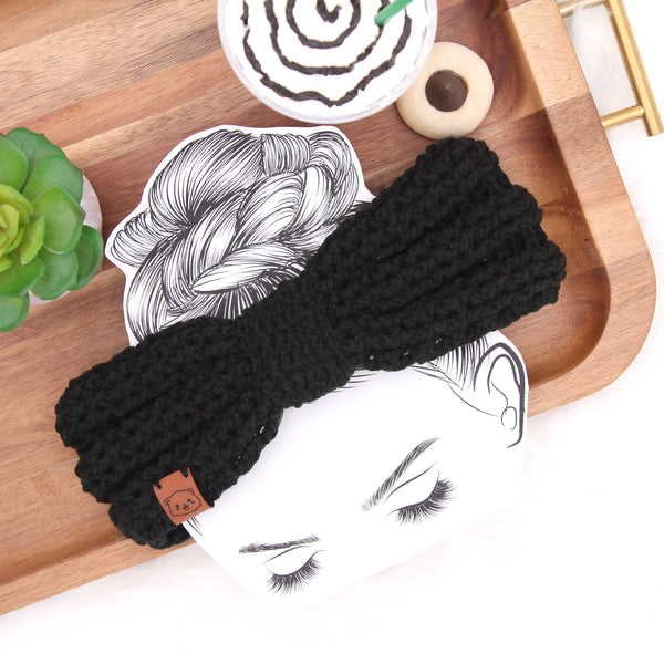 Midnight - Knot Bow Crochet Headband