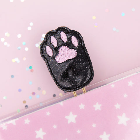 Black Cat Paw Planner Clip - Be Pawsitive Planner Clip - Cat Planner Clip - Cat Paper Clip - Cat Paw Bookmark - Paper Clip - Planner Paper Clip