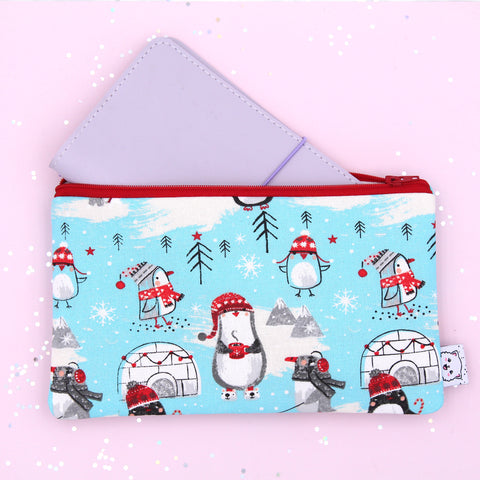 Penguins with Cocoa Hobonichi Zipper Pouch - Print Pression Weeks - Pencil Pouch - Pen Pouch