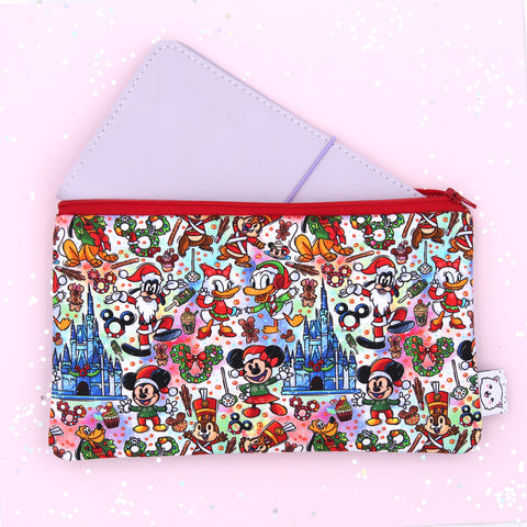 Christmas On Main Street Hobonichi Zipper Pouch - Print Pression Weeks - Pencil Pouch - Pen Pouch