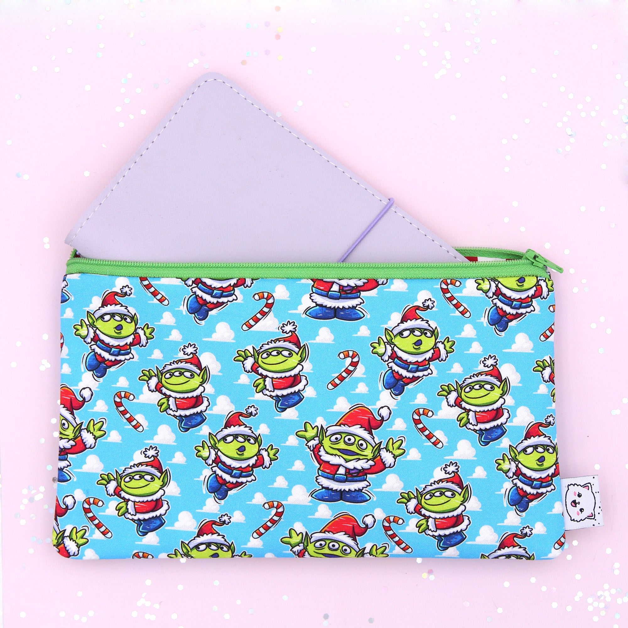 Santa Aliens Hobonichi Zipper Pouch - Print Pression Weeks - Pencil Pouch - Pen Pouch