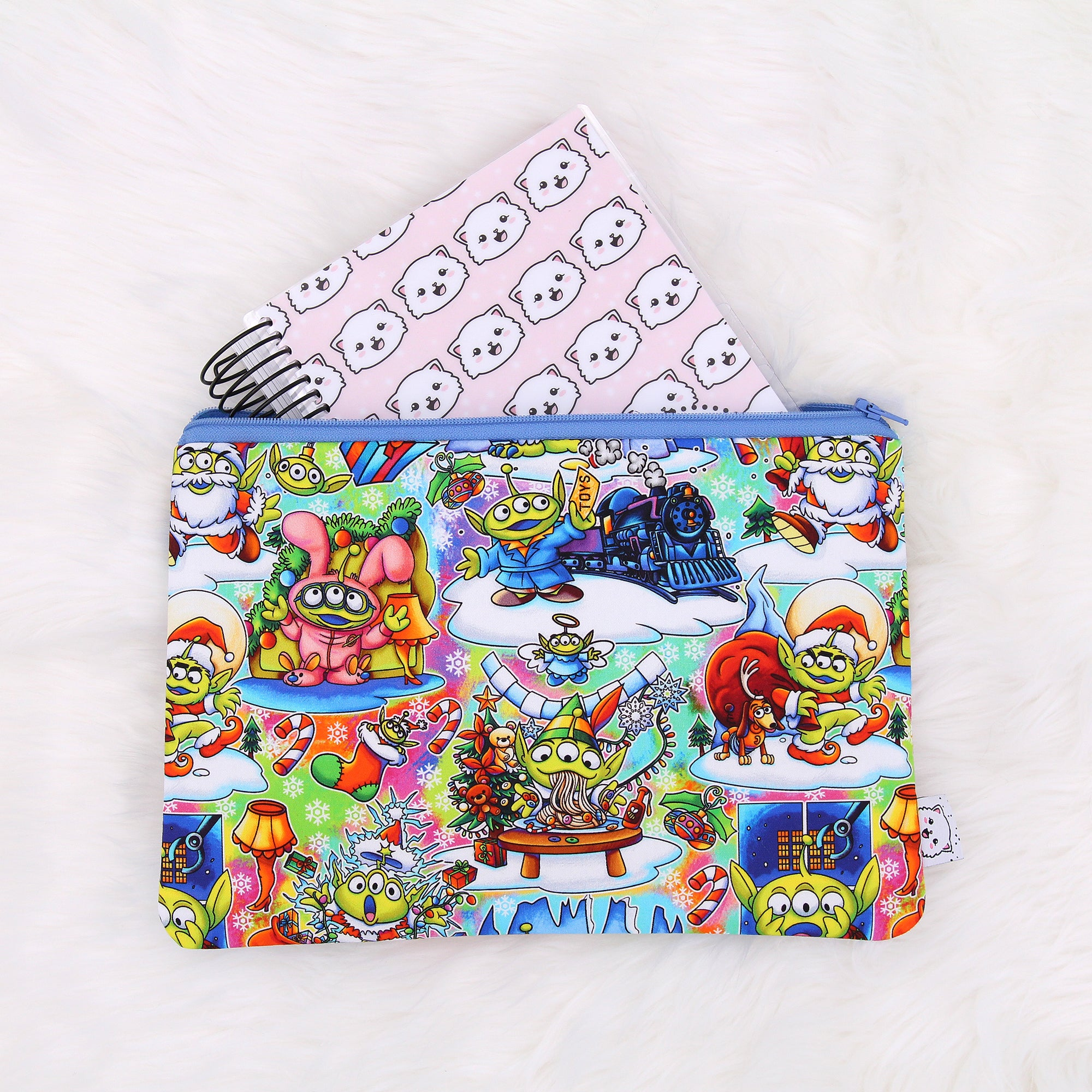 Holiday Toy Aliens Zipper Pouch - Print Pression B6 Spiral - B6 Planner Pouch - Pencil Pouch - Pen Pouch