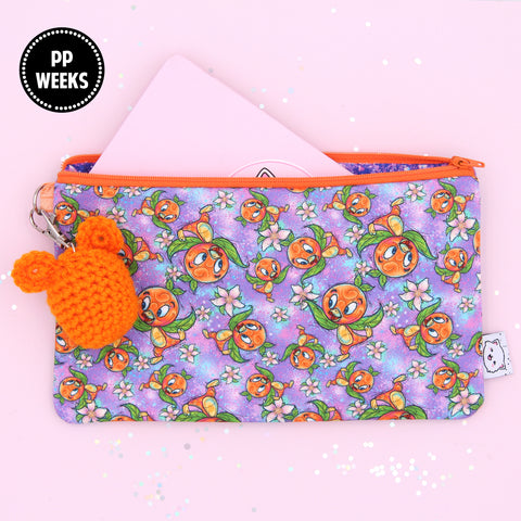 Orange Bird Hobonichi Zipper Pouch - Print Pression Weeks - Pencil Pouch - Pen Pouch - No Coupons Please