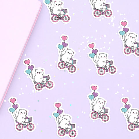 Snowball Valentine Bike Ride Vinyl Die Cut Sticker - Cat Vinyl Sticker