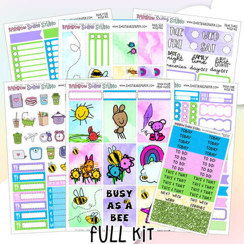 Busy Bee Planner Sticker Kit - Bee Planner Stickers - Vertical Planner Kit - Summer Planner Stickers - Mini Kit - Full Sticker Kit