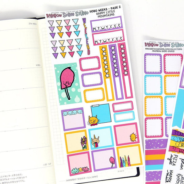 Hobonichi Weeks Kit - Mountains Planner Sticker Kit - Summer Planner Stickers - Doodle Planner Stickers - Mini Kit - Full Sticker Kit